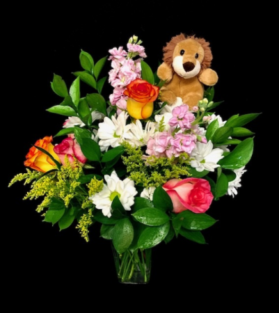My Little Friend Stuffed Animal & Floral Arrangement