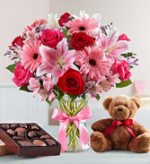 My Love Bug with add ons Arrangement. truffles and a bear