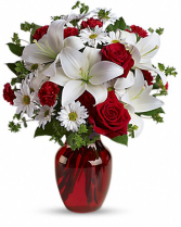 My Love Fresh roses lilies/ red or clear vase