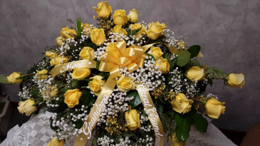 My Love of yellow roses casket spray