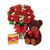 MY LOVE BOUQUET ROSES, CANDY AND A BEAR
