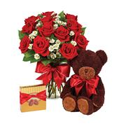 MY LOVE BOUQUET ROSES, CANDY AND A BEAR in Fort Worth, TX | FORT WORTH FLORIST