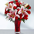 My Perfect Valentine Mix of stargazers, roses & carnations