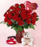 My Special Valentine 2 DZ Red Roses, Teddy Bear, Balloon & Chocolates!