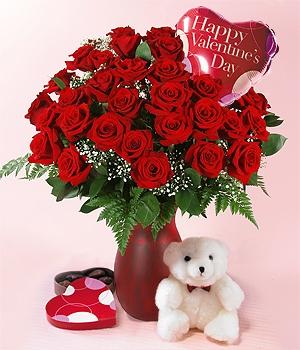 My Special Valentine 2 DZ Red Roses, Teddy Bear, Balloon & Chocolates!