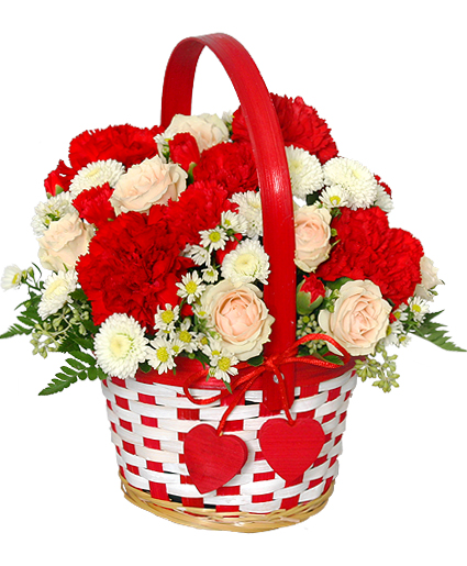 Flower Basket Arrangements Pictures : My sweetie bouquet flower basket valentine s day