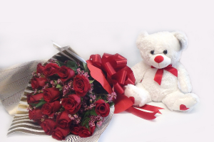 My Valentina WRAP ROSES WITH TEDDY BEAR in Falls Church, VA | Geno's Flowers