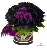 Mysterious Black Roses Box of  Roses with mask