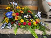 NASCAR Themed Casket Blanket Casket Flowers