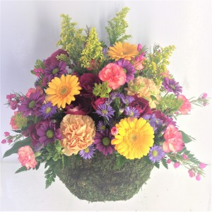 Natural Beauty Moss Basket Arrangement in Jamestown, NC | Blossoms Florist & Bakery