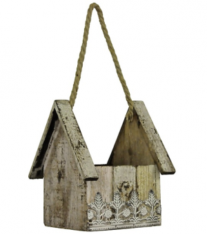 Natural Bird House Hanger Margot's Special~Our area of delivery only in Prospect, CT | MARGOT'S FLOWERS & GIFTS
