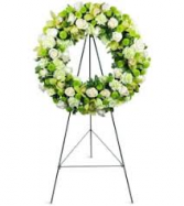 NATURAL GREEN WREATH STANDING FUNERAL PC