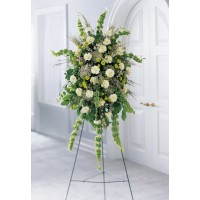 Natural Remembrance Green and White Standing Spray
