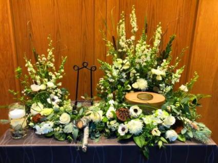 Nature in White Cremation Arrangement