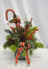 NATURES CANDY CANE BUCKET  Flower Arrangement