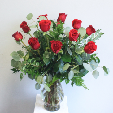 Dozen Red Roses with Lush Greenery