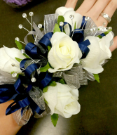 Navy and Silver Wrist Corsage