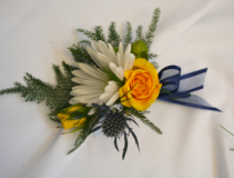 NAVY AND SUNSHINE  BOUTONNIERE