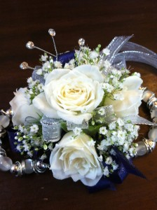 Navy Blue and Silver Wristlet Corsage