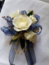 Navy Blue Wrist Corsage
