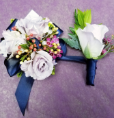 navy corsage and boutonniere