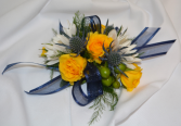 NAVY AND SUNSHINE CORSAGE IN STORE PICK UP ONLY WRIST CORSAGE