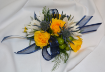 NAVY AND SUNSHINE CORSAGE