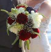 Navy/Burgandy/Ivory Brides Bouquet
