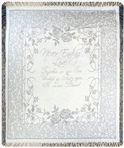 Never Ending Love Silver Anniversary Woven Throw