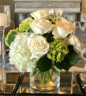 Never Fails White & Green Hydrangeas WIth Roses in Saint Petersburg, FL   BRUCE WAYNE FLORALS