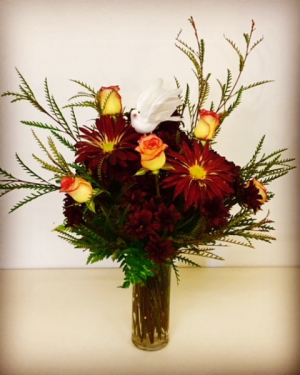 Never Forgotten Glass Vase With Roses and Fall Design.  Accented with White Dove in Plainview, TX | Kan Del's Floral, Candles & Gifts