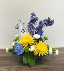 captain carefree Ceramic sail boat arrangement