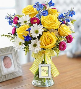 New Baby Bouquet w/Picture Frame