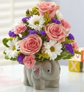 New Baby Girl Elephant Bouquet Keepsake Container