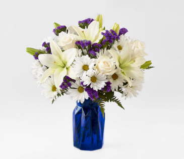 NEW BEYOND BLUE BOUQUET PURPLE AND WHITE FLOWERS IN BLUE VASE