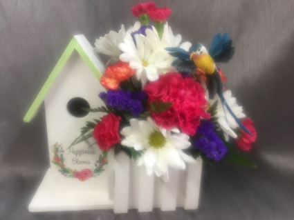 NEW Happiness Blooms Birdhouse Bouquet
