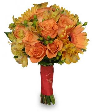 Wedding Bridal Bouquet Sunny Yellow & Peach in Red Lake, ON | FOREVER GREEN GIFT BOUTIQUE