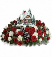 Newfie xmas Fresh cut flowers with cottage that lights up