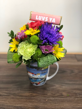 "Newfoundland ""Mug Up"" Flower arrangement in keepsake mug"