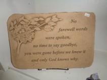 No farewell... Sympathy Cement Stone