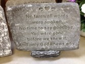 No Farewell Words Concrete plaque and stand