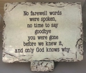 No Farewell Words Large Memorial Stone in Springfield, IL | FLOWERS BY MARY LOU INC
