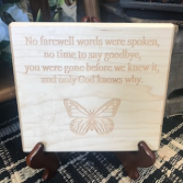 No farewell words Memorial Plaque