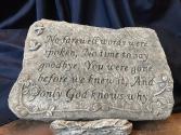 No farewell words were spoken Memorial Stone