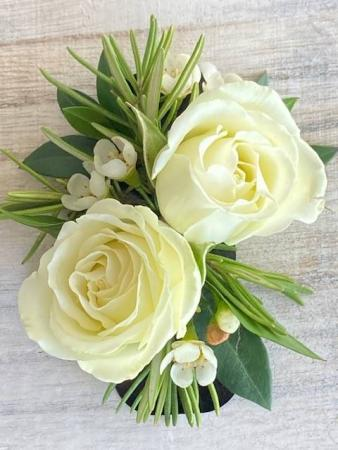 No Pin White Rose Boutonniere