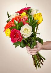 No Vase Mixed roses