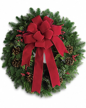 Noel- Lovely For Doors, Mailbox or Cemetery  Nice Small Christmas Fresh Wreath in Magnolia, TX | ANTIQUE ROSE FLORIST