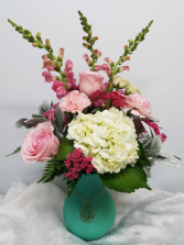 Nora Charm Bouquet Arrangement in Frosted Vase