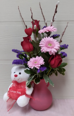 Norah Vase with Roses, Gerberas & Bear