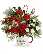 North Pole Cafe Mug Arrangement by Teleflora Christmas Arrangement